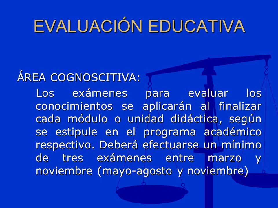 EVALUACIÓN EDUCATIVA ÁREA COGNOSCITIVA: