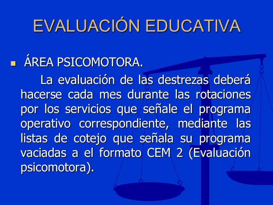 EVALUACIÓN EDUCATIVA ÁREA PSICOMOTORA.