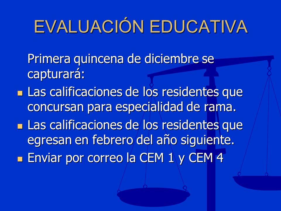 EVALUACIÓN EDUCATIVA Primera quincena de diciembre se capturará: