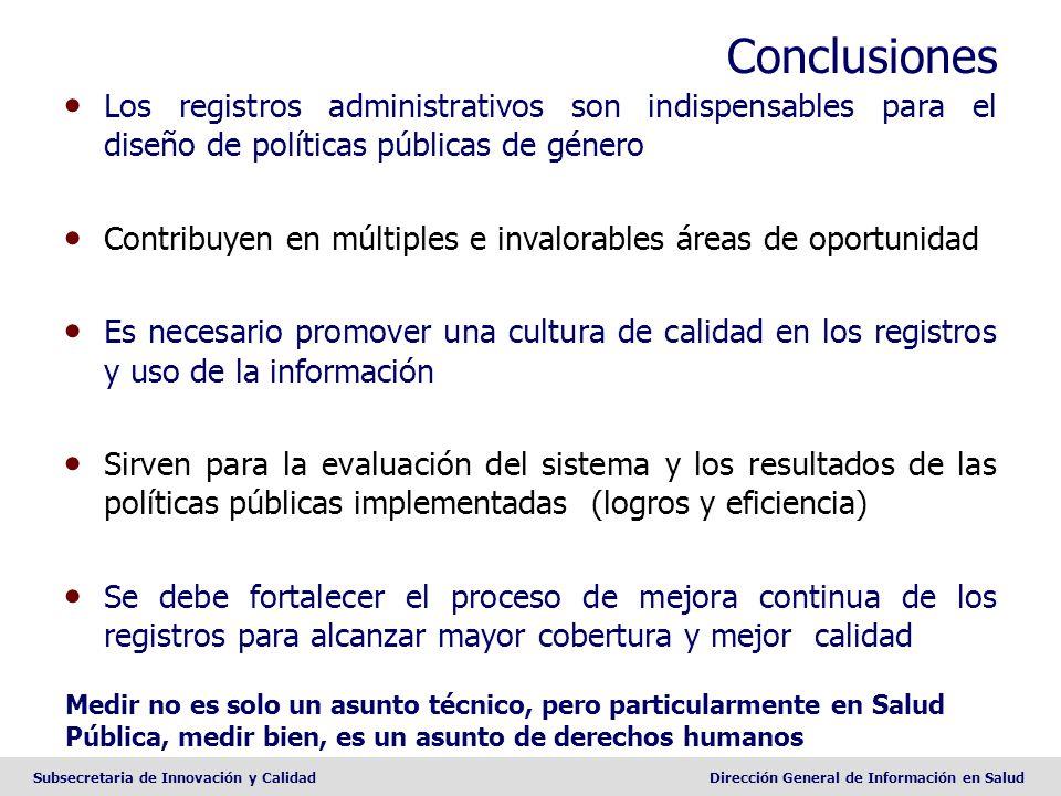 Conclusiones Los registros administrativos son indispensables para el diseño de políticas públicas de género.
