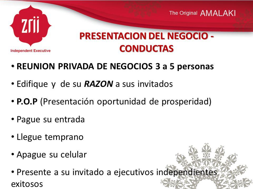 PRESENTACION DEL NEGOCIO - CONDUCTAS