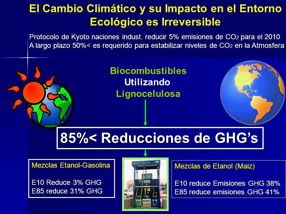 85%< Reducciones de GHG's
