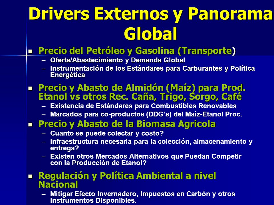Drivers Externos y Panorama Global