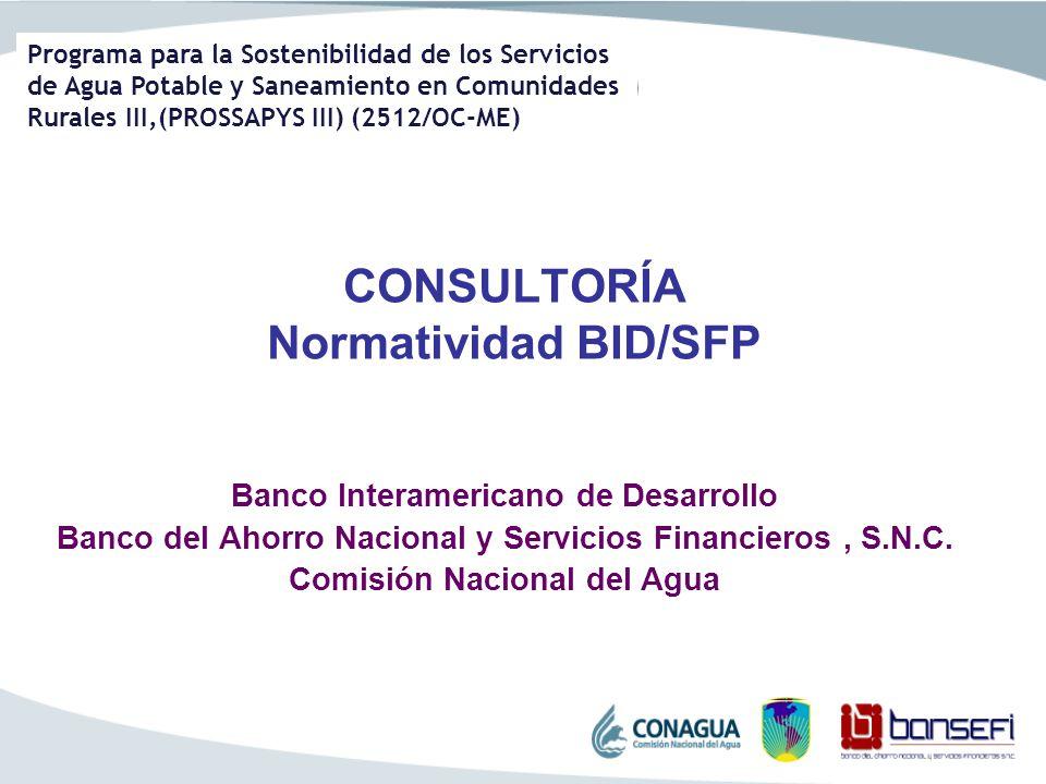 CONSULTORÍA Normatividad BID/SFP