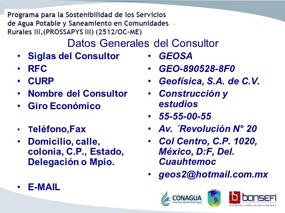 Datos Generales del Consultor