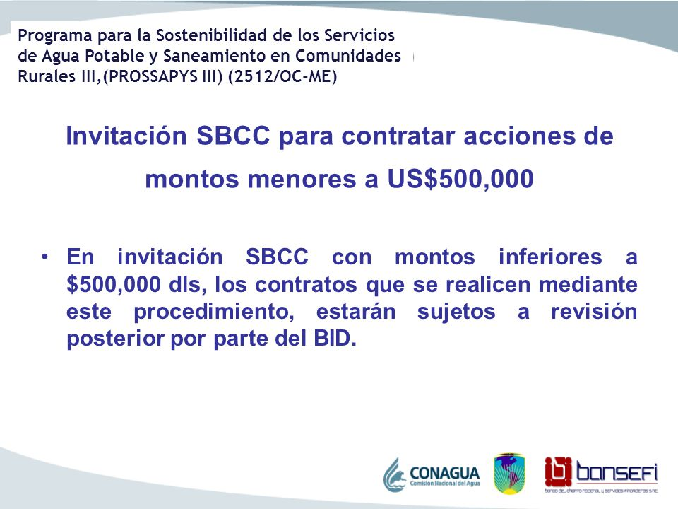 Invitación SBCC para contratar acciones de montos menores a US$500,000