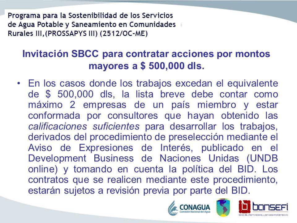 Invitación SBCC para contratar acciones por montos mayores a $ 500,000 dls.