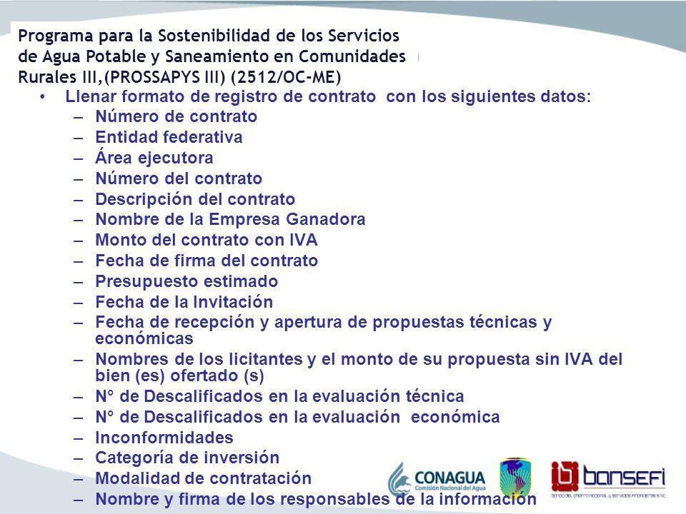 Llenar formato de registro de contrato con los siguientes datos: