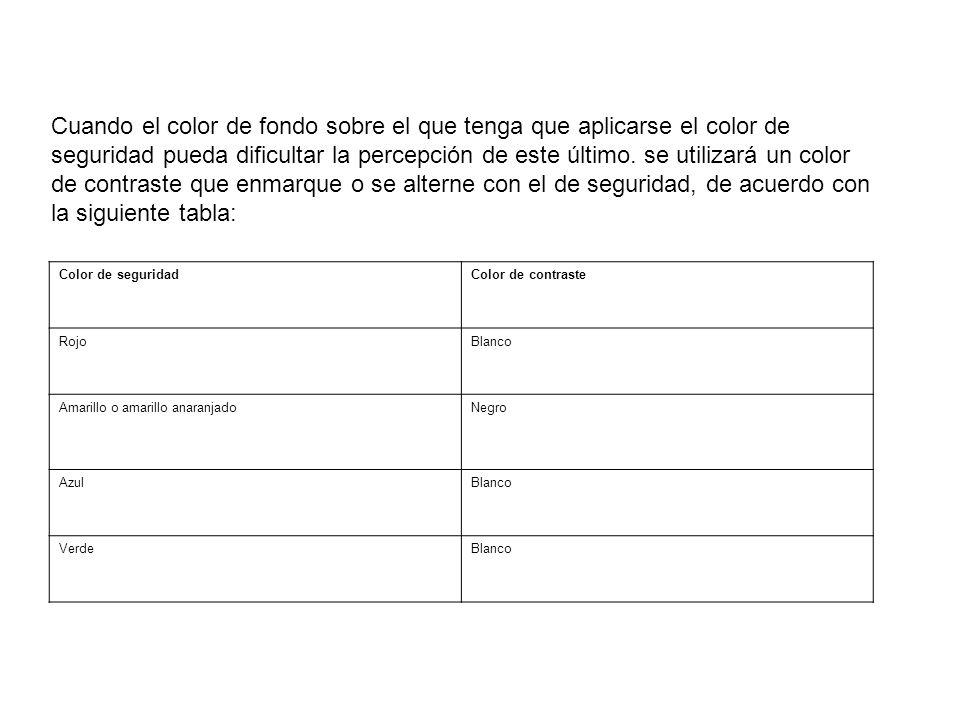 Cuando el color de fondo sobre el que tenga que aplicarse el color de seguridad pueda dificultar la percepción de este último. se utilizará un color de contraste que enmarque o se alterne con el de seguridad, de acuerdo con la siguiente tabla: