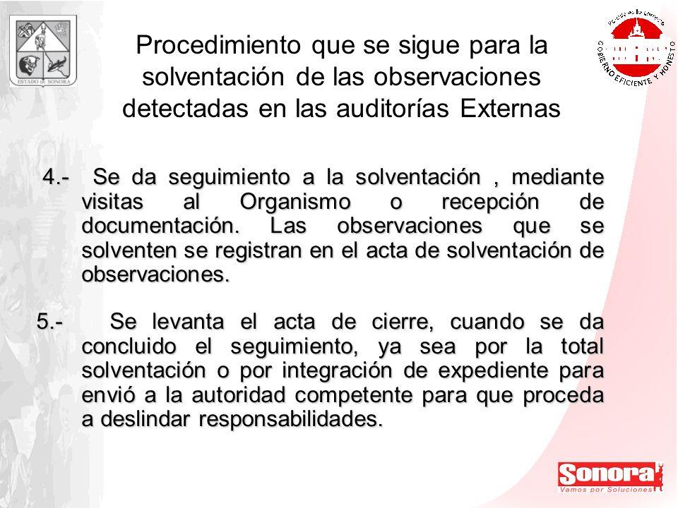 Procedimiento que se sigue para la solventación de las observaciones detectadas en las auditorías Externas