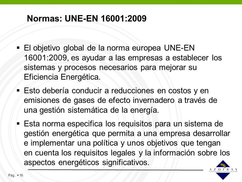 Normas: UNE-EN 16001:2009