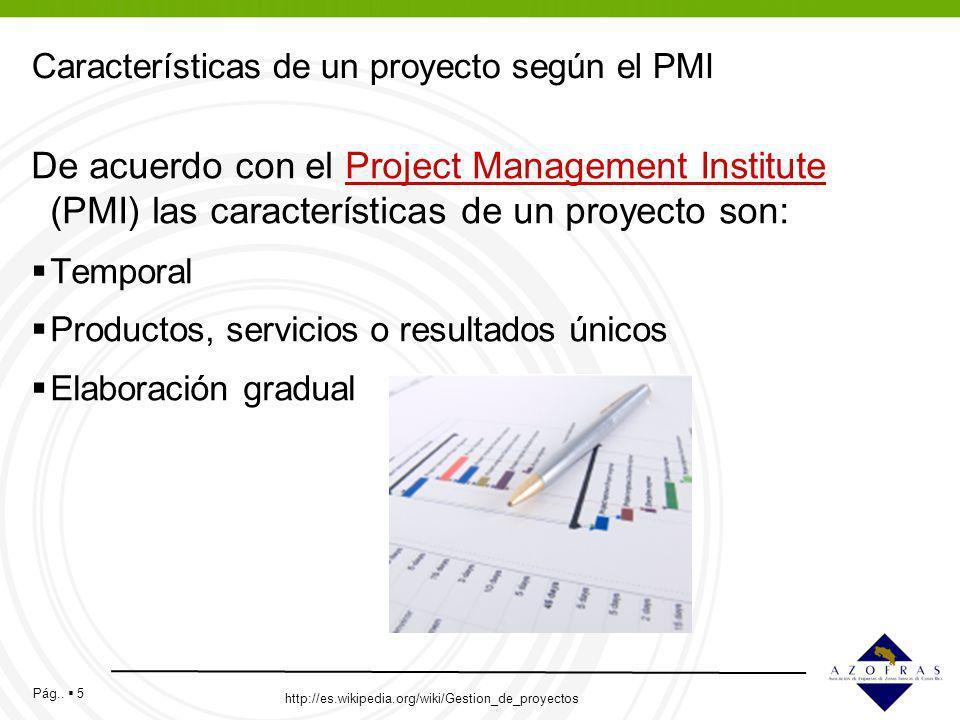 Características de un proyecto según el PMI