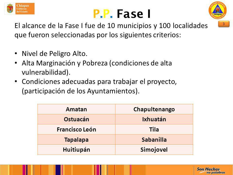 P.P. Fase II El alcance en esta fase es de la totalidad de todos los Municipios del Estado de Chiapas, con tres localidades cada uno.