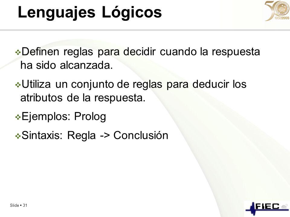 Lenguajes Lógicos Definen reglas para decidir cuando la respuesta ha sido alcanzada.