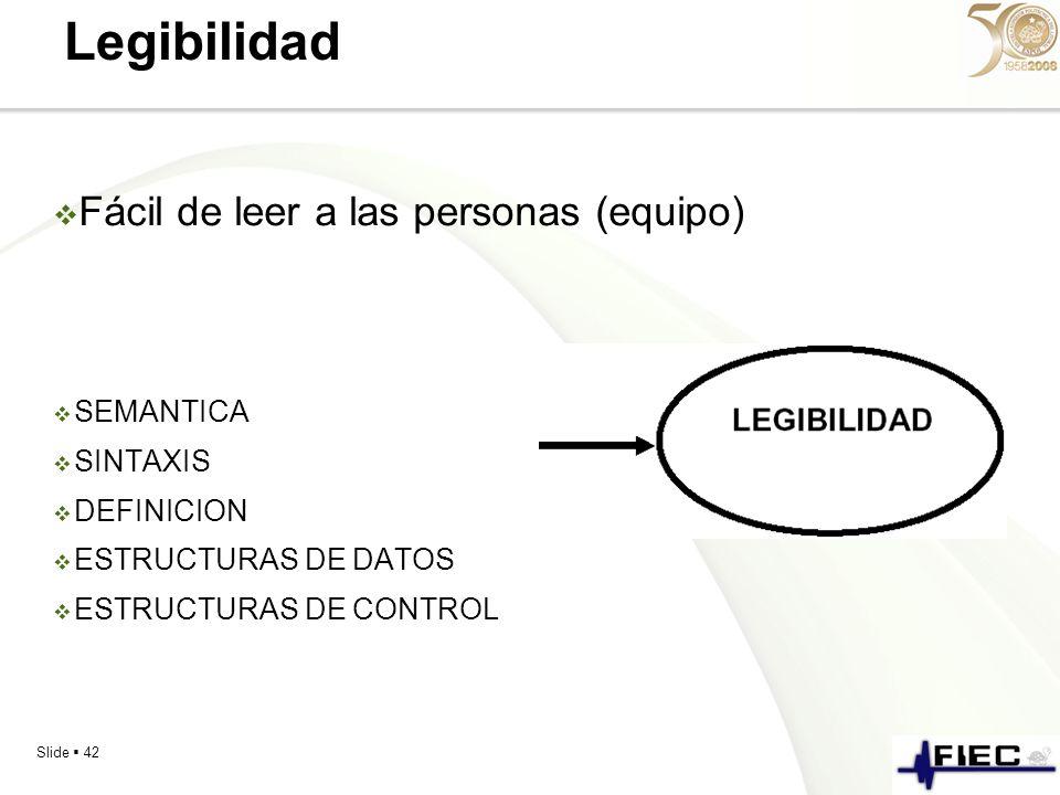 Legibilidad Fácil de leer a las personas (equipo) SEMANTICA SINTAXIS