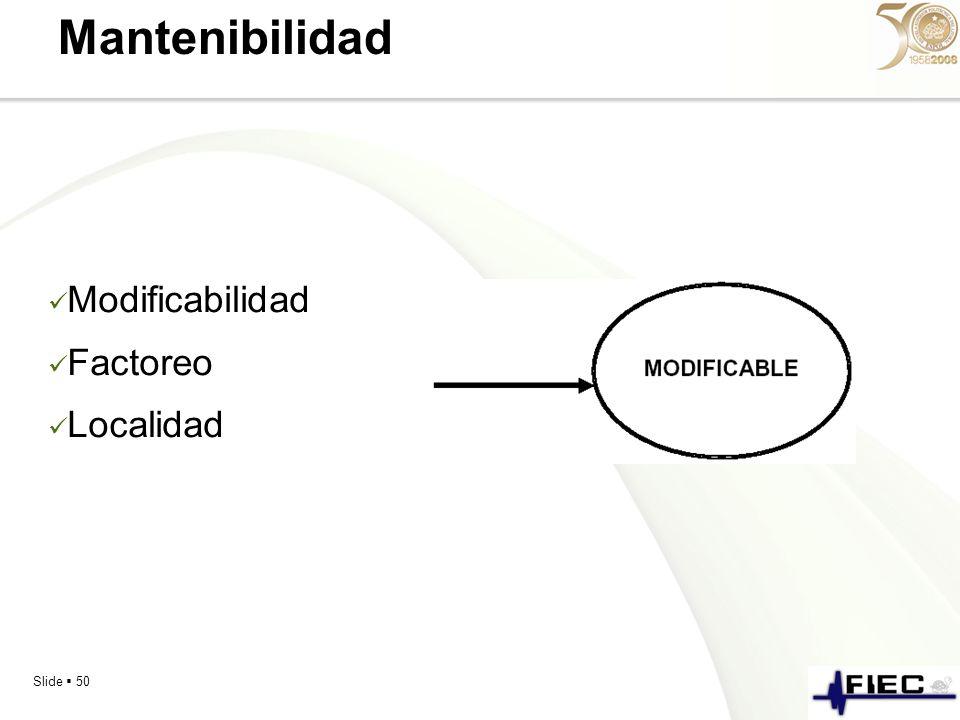 Mantenibilidad Modificabilidad Factoreo Localidad