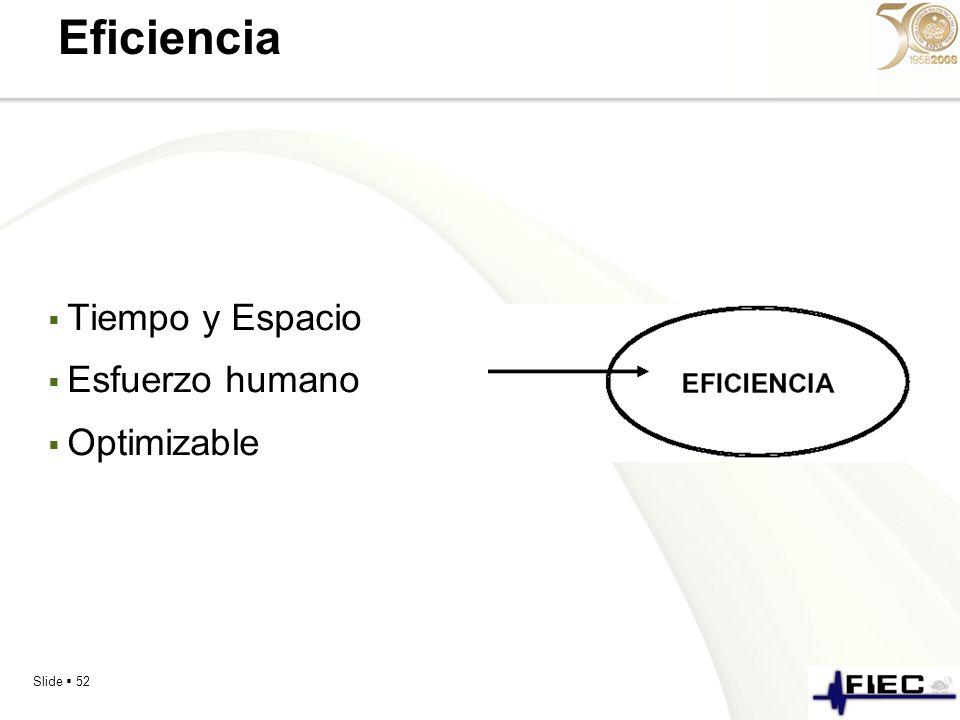 Eficiencia Tiempo y Espacio Esfuerzo humano Optimizable