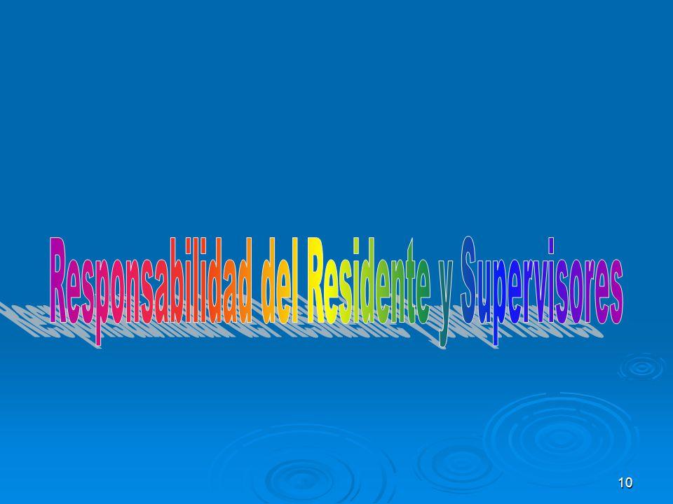 Responsabilidad del Residente y Supervisores