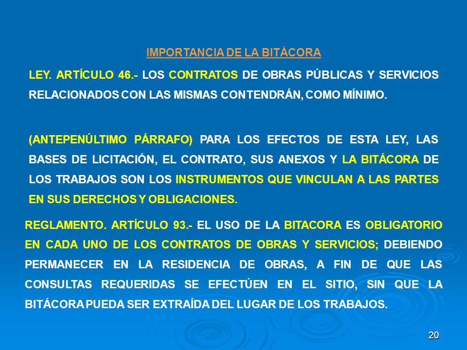 IMPORTANCIA DE LA BITÁCORA