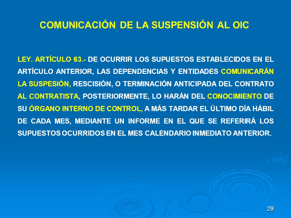 COMUNICACIÓN DE LA SUSPENSIÓN AL OIC