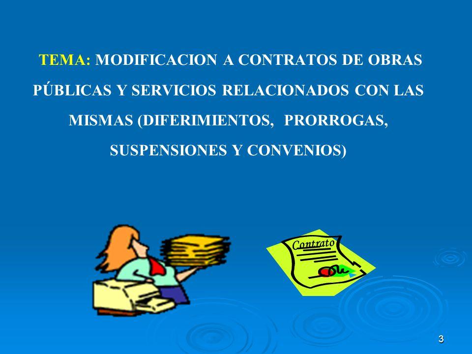 TEMA: MODIFICACION A CONTRATOS DE OBRAS PÚBLICAS Y SERVICIOS RELACIONADOS CON LAS MISMAS (DIFERIMIENTOS, PRORROGAS, SUSPENSIONES Y CONVENIOS)