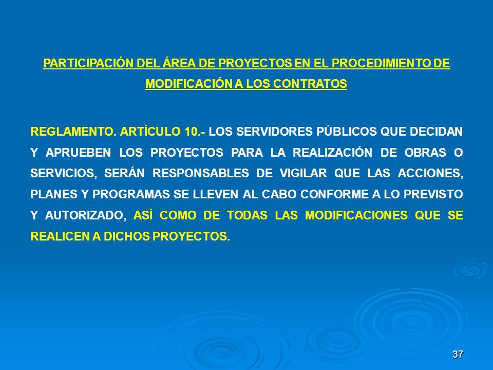 PARTICIPACIÓN DEL ÁREA DE PROYECTOS EN EL PROCEDIMIENTO DE MODIFICACIÓN A LOS CONTRATOS