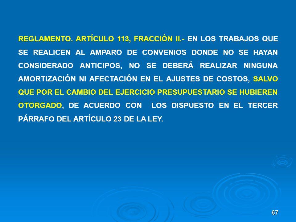 REGLAMENTO. ARTÍCULO 113, FRACCIÓN II