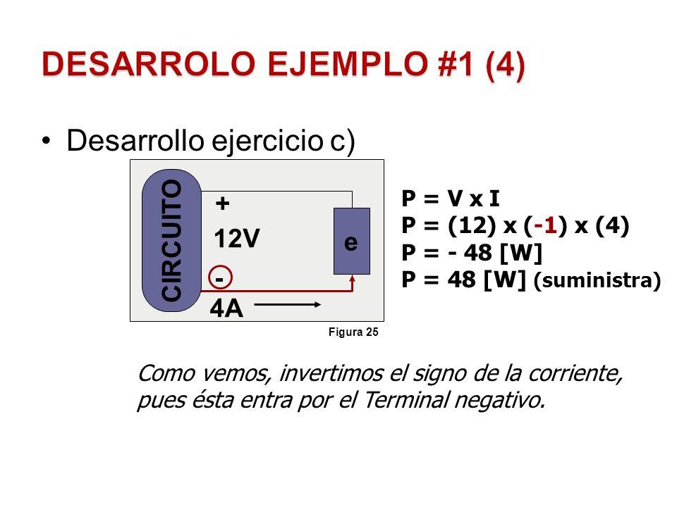 DESARROLO EJEMPLO #1 (4) Desarrollo ejercicio c) CIRCUITO + e 12V - 4A
