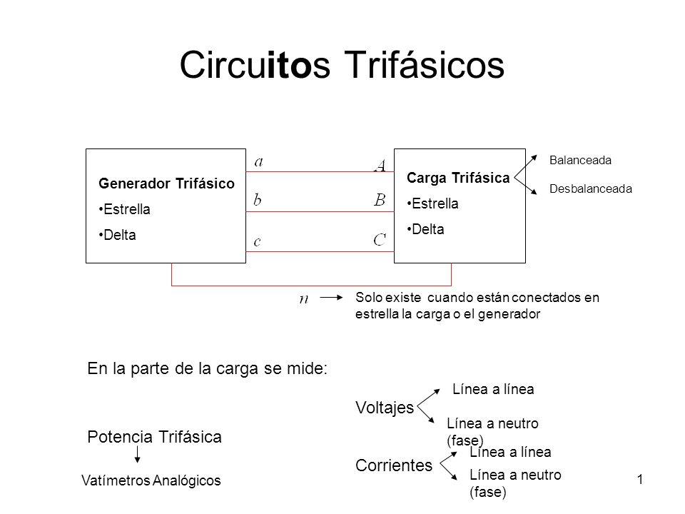 Circuitos Trifásicos En la parte de la carga se mide: Voltajes