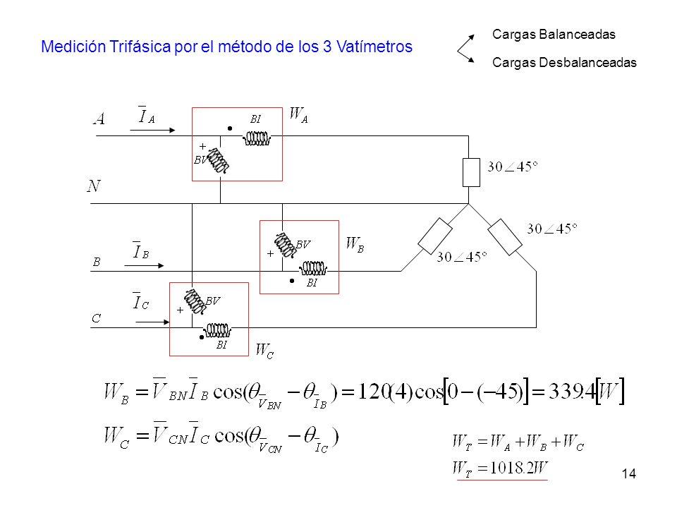 Medición Trifásica por el método de los 3 Vatímetros