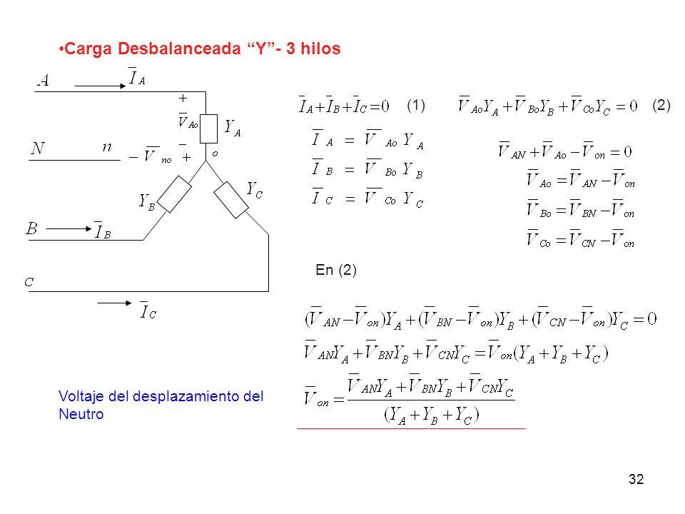 Carga Desbalanceada Y - 3 hilos