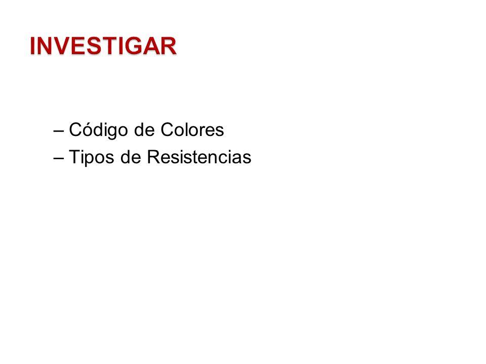 INVESTIGAR Código de Colores Tipos de Resistencias