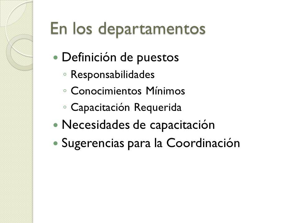En los departamentos Definición de puestos Necesidades de capacitación