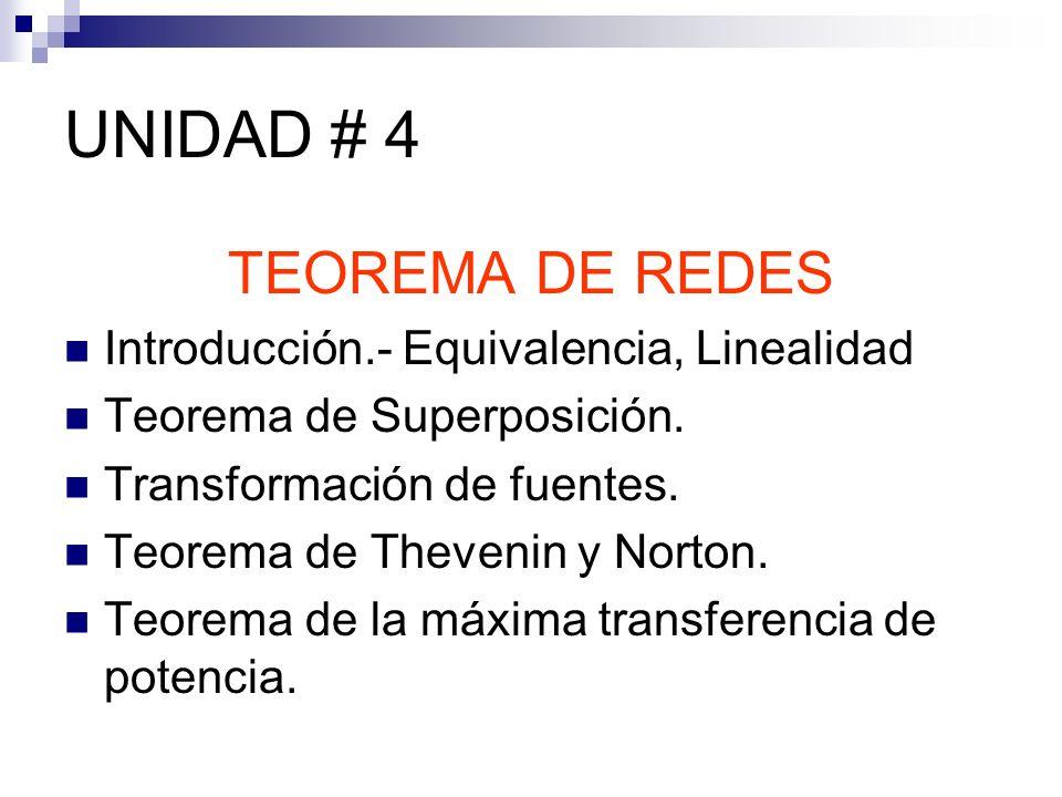 UNIDAD # 4 TEOREMA DE REDES Introducción.- Equivalencia, Linealidad