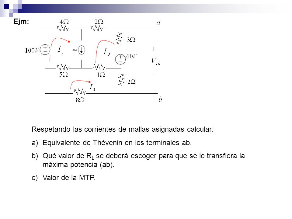 Ejm: Respetando las corrientes de mallas asignadas calcular: Equivalente de Thévenin en los terminales ab.