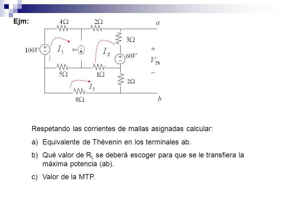Ejm:Respetando las corrientes de mallas asignadas calcular: Equivalente de Thévenin en los terminales ab.