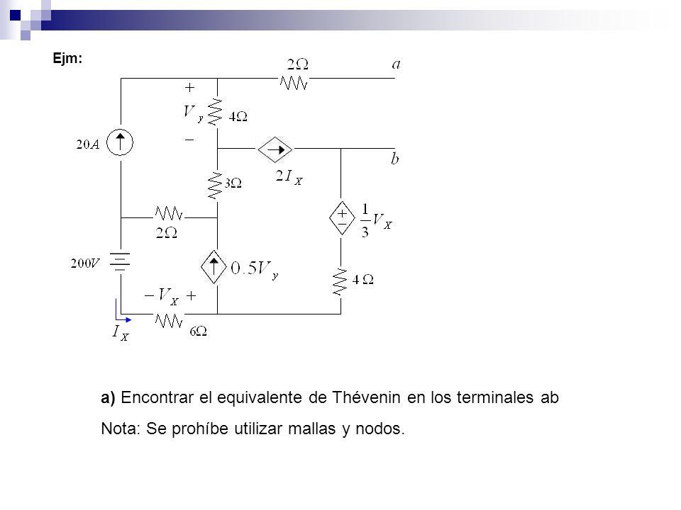 a) Encontrar el equivalente de Thévenin en los terminales ab