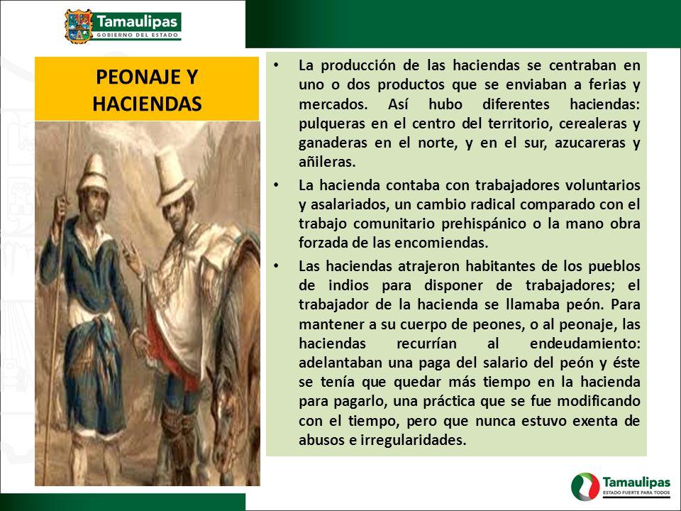 La producción de las haciendas se centraban en uno o dos productos que se enviaban a ferias y mercados. Así hubo diferentes haciendas: pulqueras en el centro del territorio, cerealeras y ganaderas en el norte, y en el sur, azucareras y añileras.