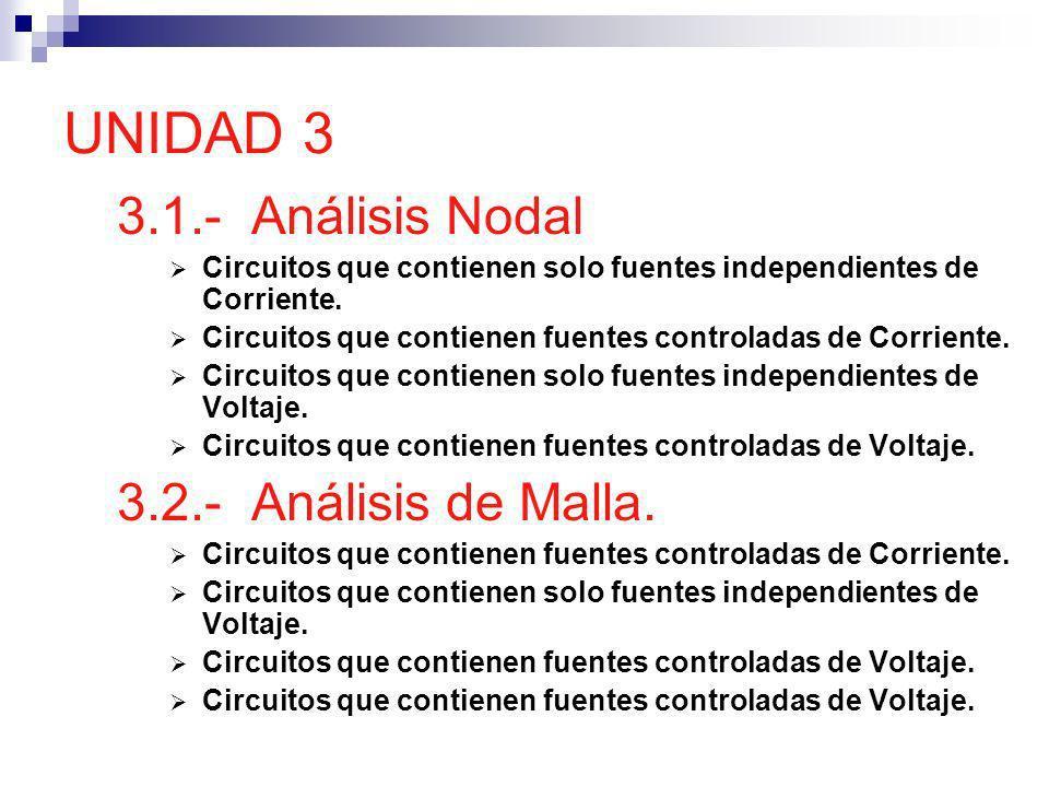 UNIDAD 3 3.1.- Análisis Nodal 3.2.- Análisis de Malla.