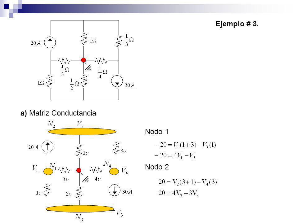 Ejemplo # 3. a) Matriz Conductancia Nodo 1 Nodo 2