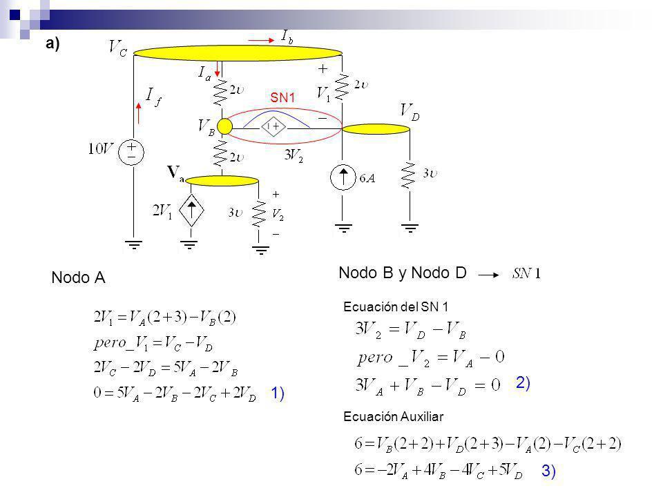 a) Nodo B y Nodo D Nodo A 2) 1) 3) SN1 Ecuación del SN 1