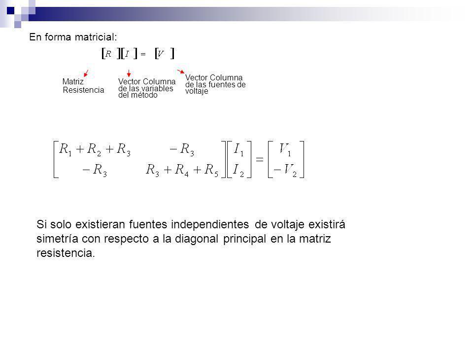 En forma matricial: Vector Columna de las fuentes de voltaje. Matriz. Resistencia. Vector Columna de las variables del método.