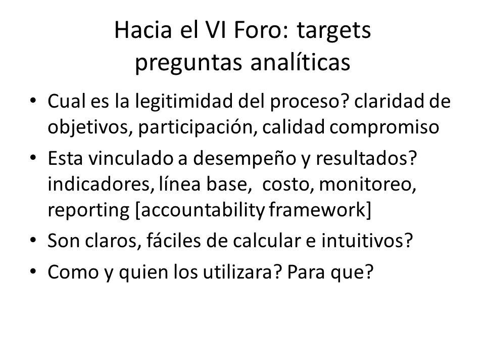 Hacia el VI Foro: targets preguntas analíticas