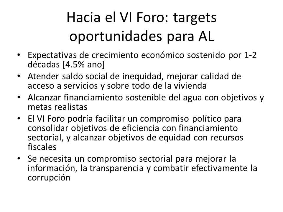 Hacia el VI Foro: targets oportunidades para AL