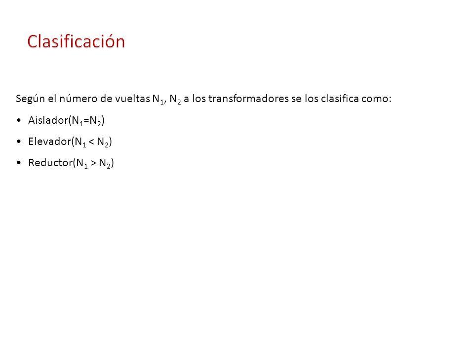 Clasificación Según el número de vueltas N1, N2 a los transformadores se los clasifica como: Aislador(N1=N2)