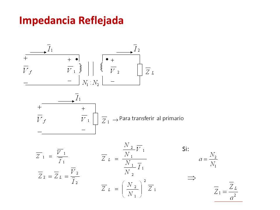 Impedancia Reflejada Para transferir al primario Si: