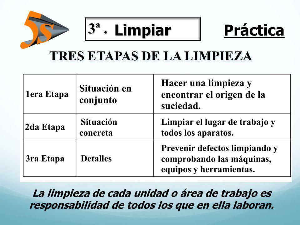 Práctica 3ª . Limpiar TRES ETAPAS DE LA LIMPIEZA