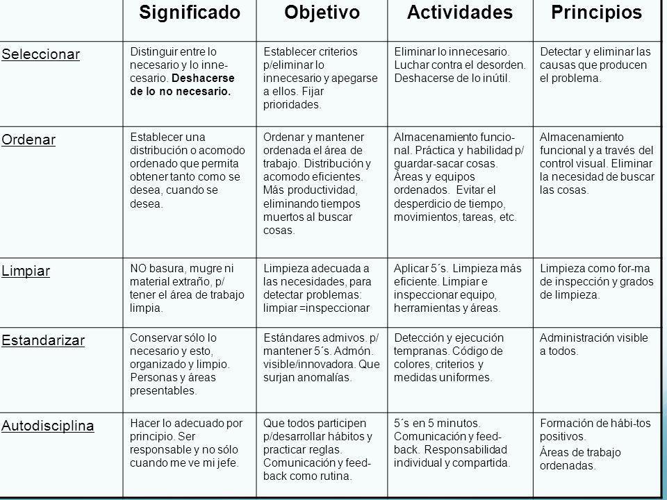 Significado Objetivo Actividades Principios
