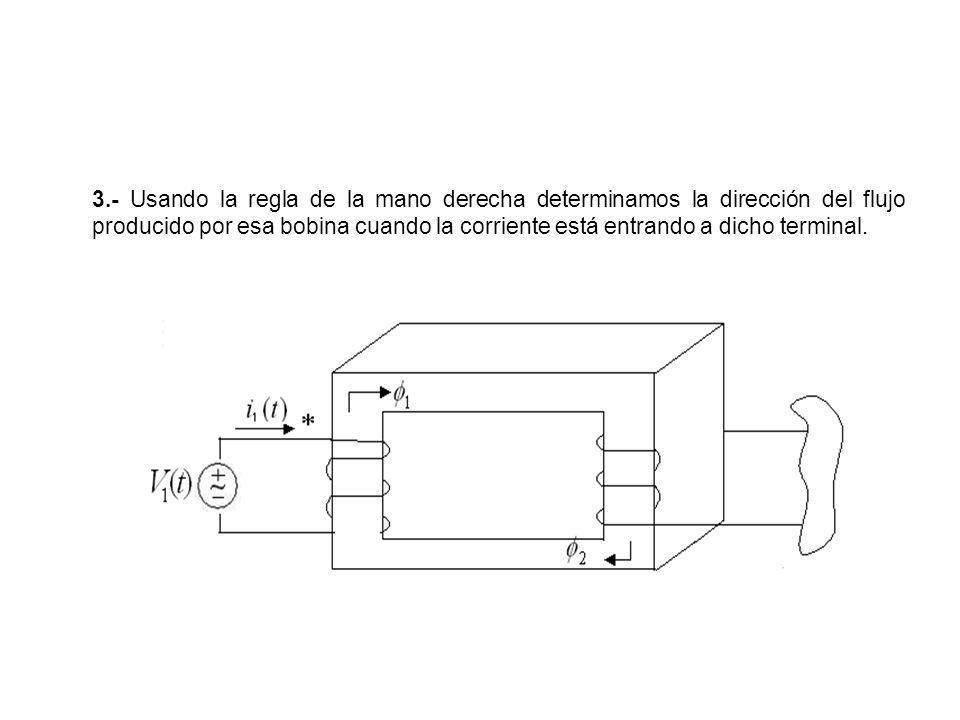 3.- Usando la regla de la mano derecha determinamos la dirección del flujo producido por esa bobina cuando la corriente está entrando a dicho terminal.