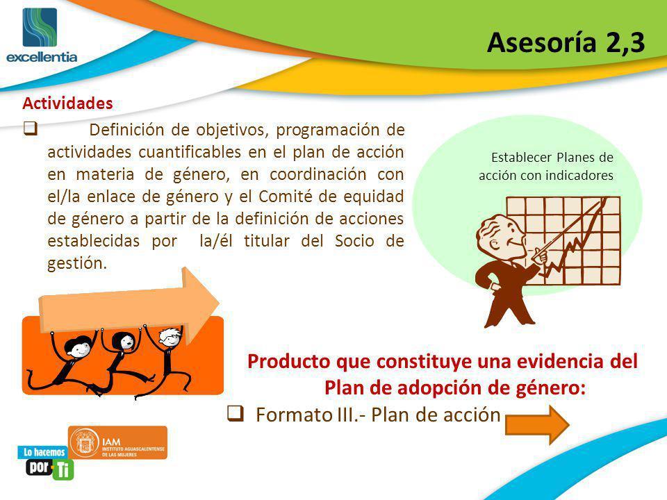 Producto que constituye una evidencia del Plan de adopción de género: